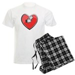 Barbell Heart (red) Men's Light Pajamas