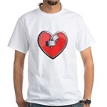 Barbell Heart (red) White T-Shirt