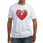 Barbell Heart (red) Fitted T-Shirt