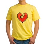 Barbell Heart (red) Yellow T-Shirt