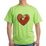 Barbell Heart (red) Green T-Shirt