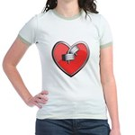 Barbell Heart (red) Jr. Ringer T-Shirt