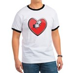 Barbell Heart (red) Ringer T