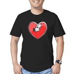 Barbell Heart (red) Men's Fitted T-Shirt (dark)