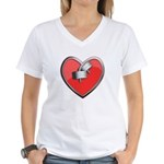Barbell Heart (red) Women's V-Neck T-Shirt
