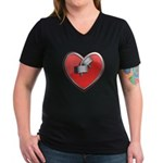 Barbell Heart (red) Women's V-Neck Dark T-Shirt