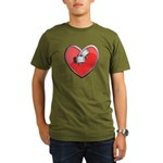Barbell Heart (red) Organic Men's T-Shirt (dark)