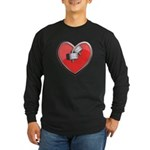 Barbell Heart (red) Long Sleeve Dark T-Shirt