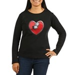 Barbell Heart (red) Women's Long Sleeve Dark T-Shi