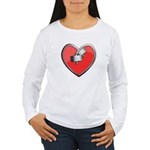 Barbell Heart (red) Women's Long Sleeve T-Shirt