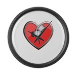 Barbell Heart (red) Large Wall Clock