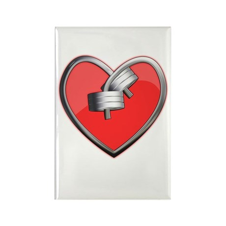 Barbell Heart (red) Rectangle Magnet