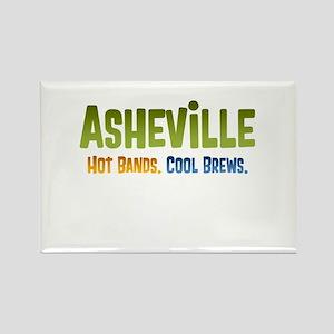 Asheville. Hot bands. Rectangle Magnet
