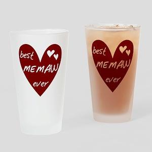 Heart Best Memaw Ever Drinking Glass