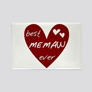 Heart Best Memaw Ever Rectangle Magnet