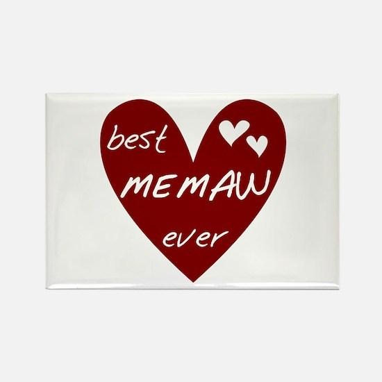 Heart Best Memaw Ever Rectangle Magnet