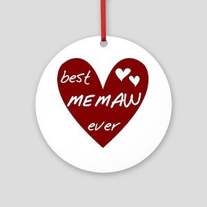 Heart Best Memaw Ever Ornament (Round)