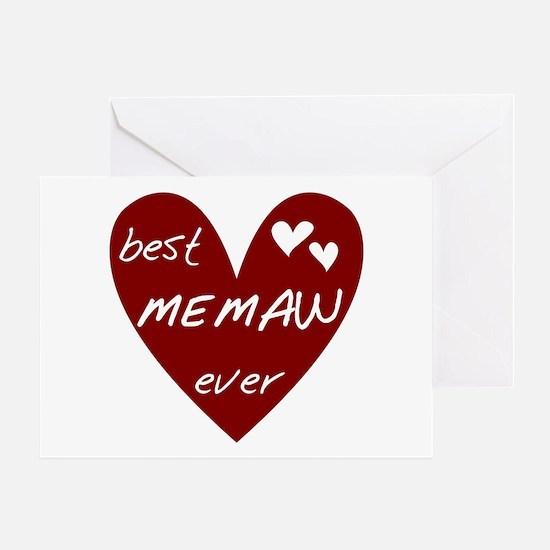 Heart Best Memaw Ever Greeting Card