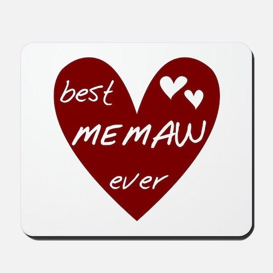 Heart Best Memaw Ever Mousepad