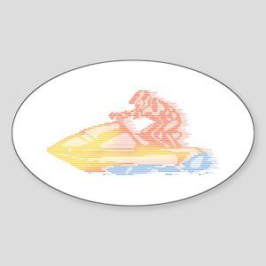 Jet Ski Oval Sticker