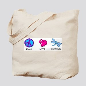 Peace Love and Dragonflies Tote Bag