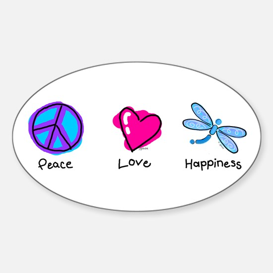 Peace Love and Dragonflies Oval Decal