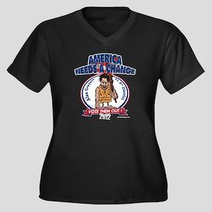 """Neanderthal"" Women's Plus Size V-Neck Dark T-Shir"
