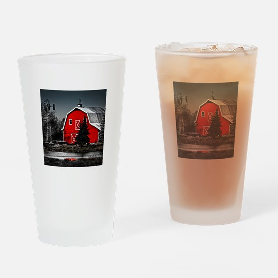 VIBRANT RED BARN Drinking Glass