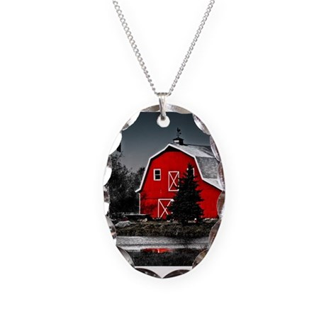 VIBRANT RED BARN Necklace Oval Charm