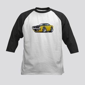 1970 AAR Cuda Yellow-Black Car Kids Baseball Jerse