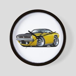 1970 AAR Cuda Yellow-Black Car Wall Clock