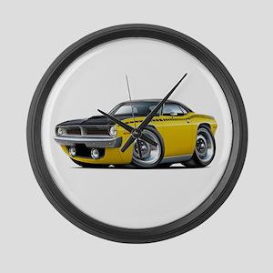 1970 AAR Cuda Yellow-Black Car Large Wall Clock