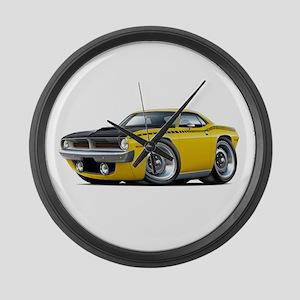 1970 AAR Cuda Yellow Car Large Wall Clock