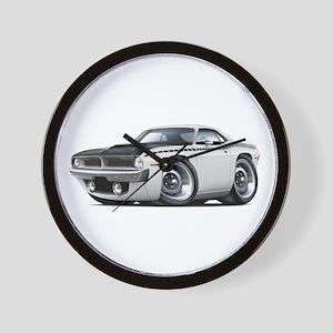 1970 AAR Cuda White Car Wall Clock