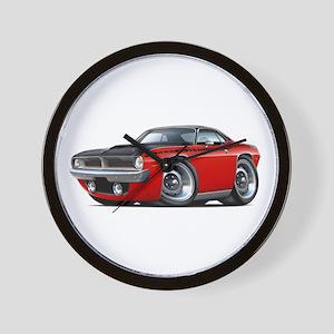 1970 AAR Cuda Red-Black Car Wall Clock