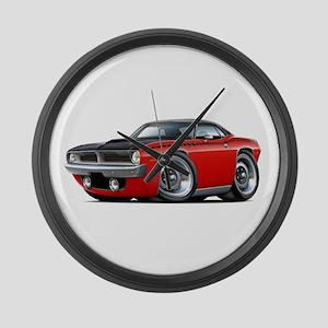 1970 AAR Cuda Red-Black Car Large Wall Clock