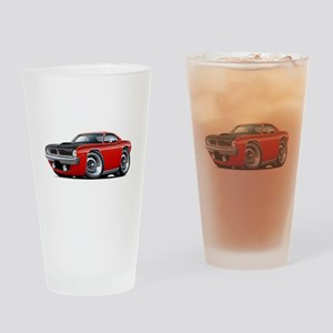 1970 AAR Cuda Red Car Drinking Glass