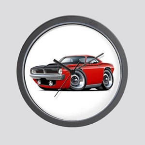 1970 AAR Cuda Red Car Wall Clock