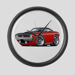 1970 AAR Cuda Red Car Large Wall Clock