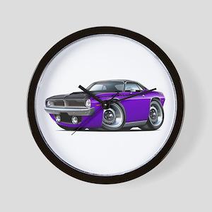 1970 AAR Cuda Purple-Black Car Wall Clock