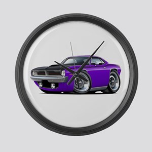 1970 AAR Cuda Purple Car Large Wall Clock