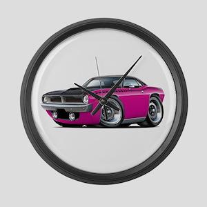1970 AAR Cuda Pink Car Large Wall Clock