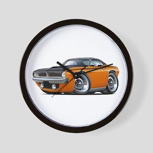1970 AAR Cuda Orange-Black Car Wall Clock