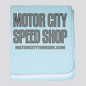 Motor City Speed Shop Logo baby blanket