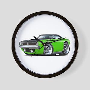 1970 AAR Cuda Lime-Black Car Wall Clock