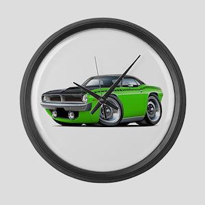 1970 AAR Cuda Lime-Black Car Large Wall Clock