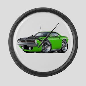 1970 AAR Cuda Lime Car Large Wall Clock