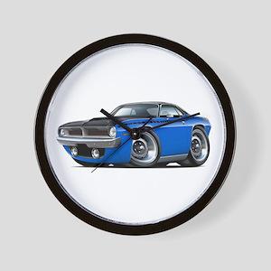 1970 AAR Cuda Blue-Black Car Wall Clock