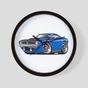 1970 AAR Cuda Blue Car Wall Clock