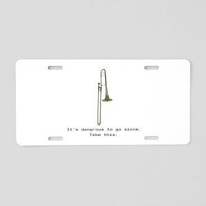 Take the Trombone Aluminum License Plate